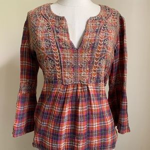 Johnny Was Plaid Embroidered Flare Sleeve Top
